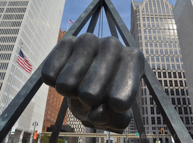 Monument to Joe Louis in Detroit, Michigan