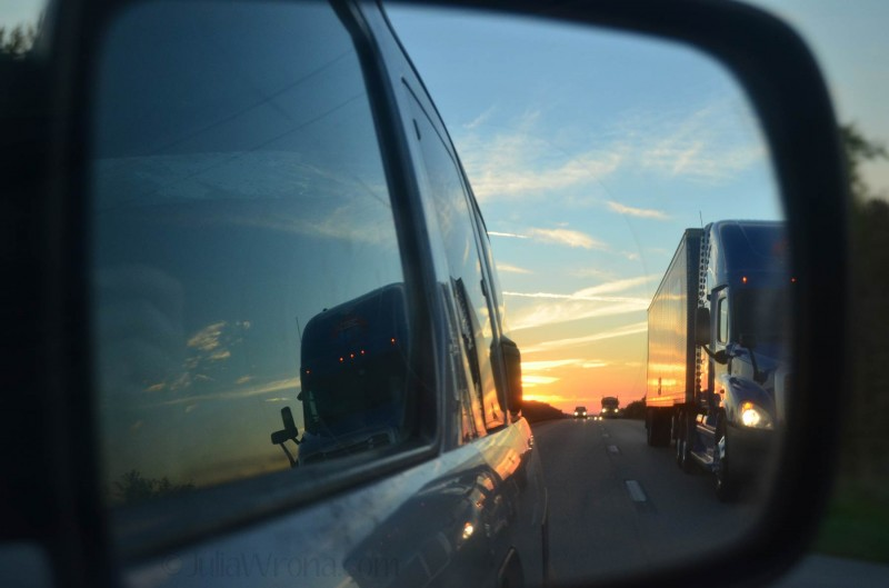 Sunrise on i-70 nearing Kansas City, Missouri
