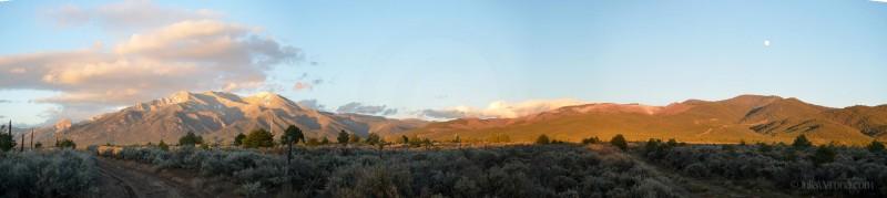 Sunset over the Sangre de Cristo Mountains in Taos
