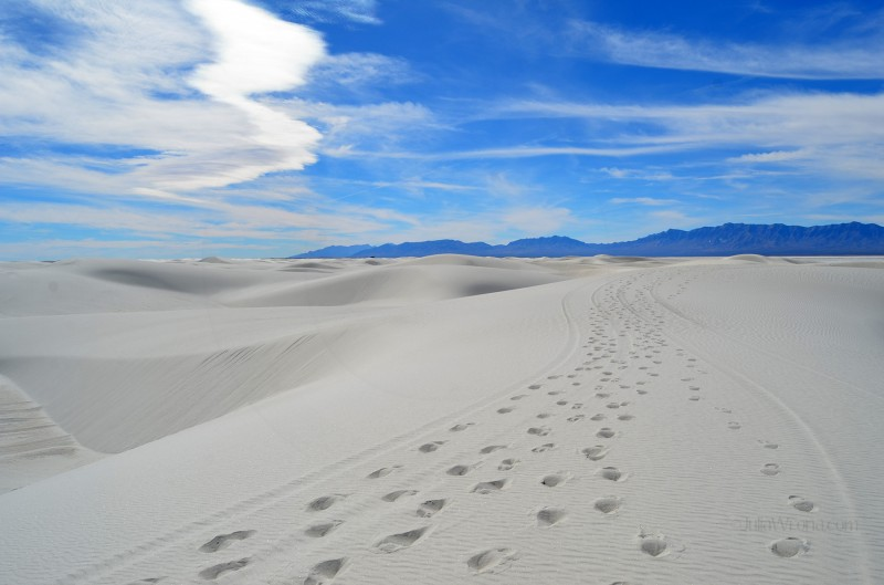 Footsteps in Sand at White Sands National Park