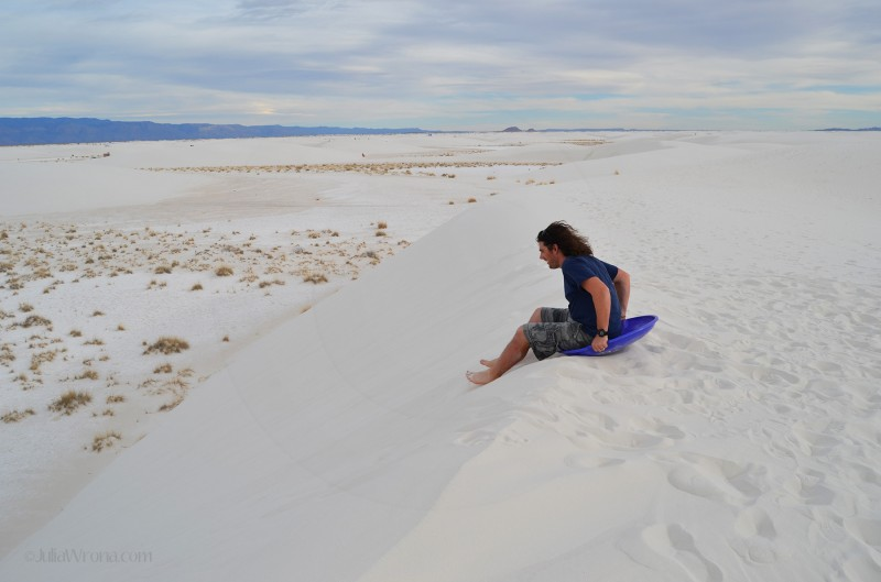 Sledding in White Sands National Park