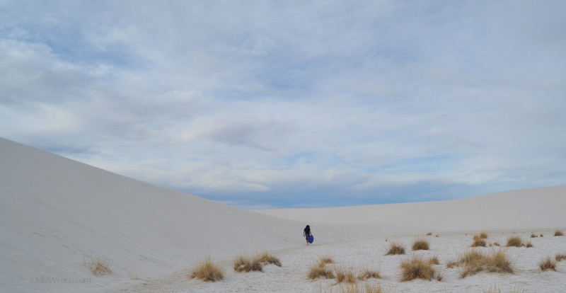 Walking along a Sand Dune at White Sands National Park