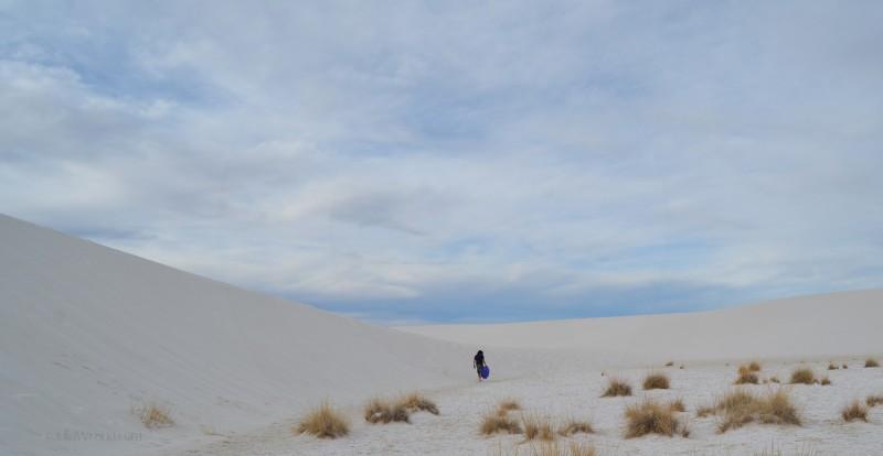 Walking along a Sand Dune at White Sands National Park