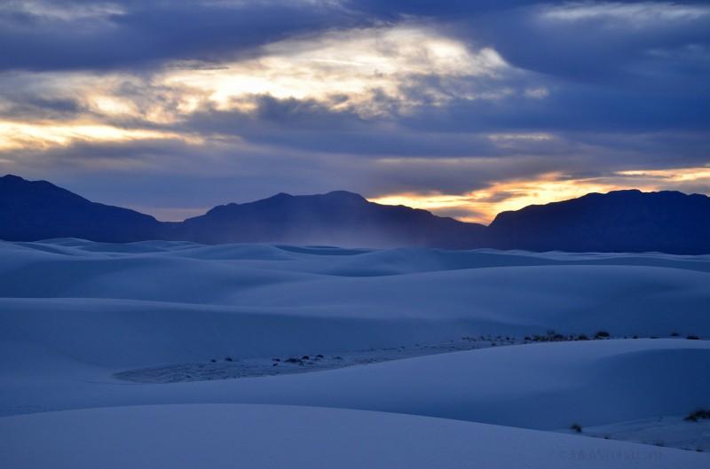 Sand storm at sunset