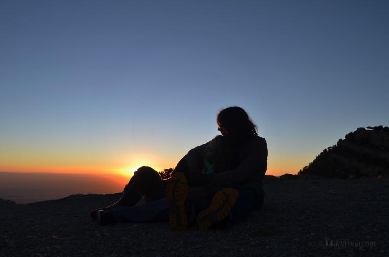 The top of Sandia Peak in Albuquerque at Sunset