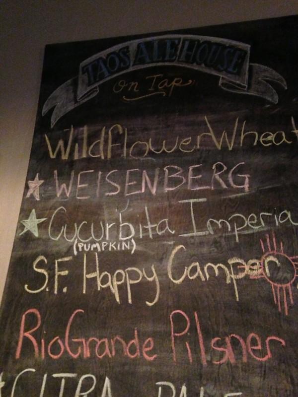 Taos Ale House menu