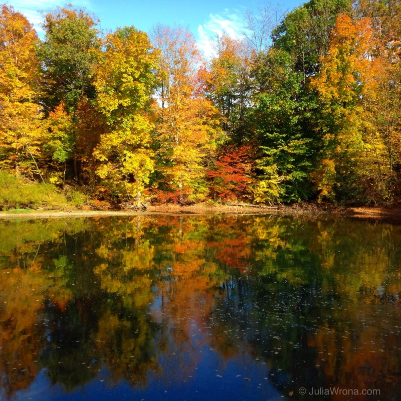 Fall foliage reflecting in the Walloomsac River