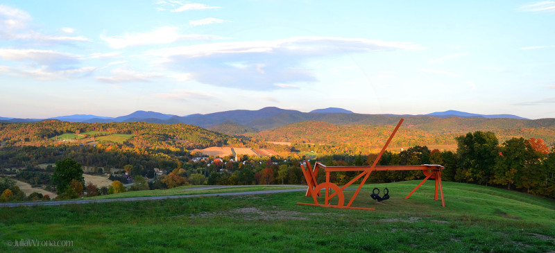Sculpture and Vermont Green Mountains in Autumn