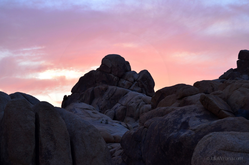 Sunset over boulders at Joshua Tree