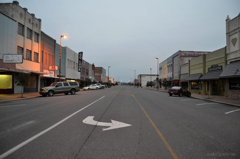 Empty street Texarkana Arkansas Texas