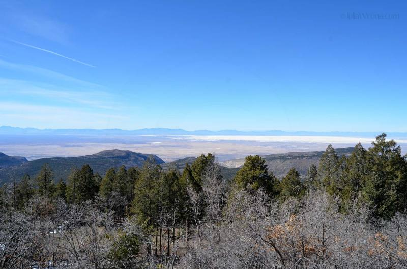 Looking down on White Sands, New Mexico from Cloudcroft