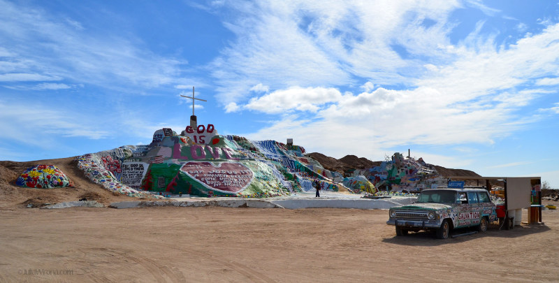 Wide shot of Leonard Knight's Salvation Mountain