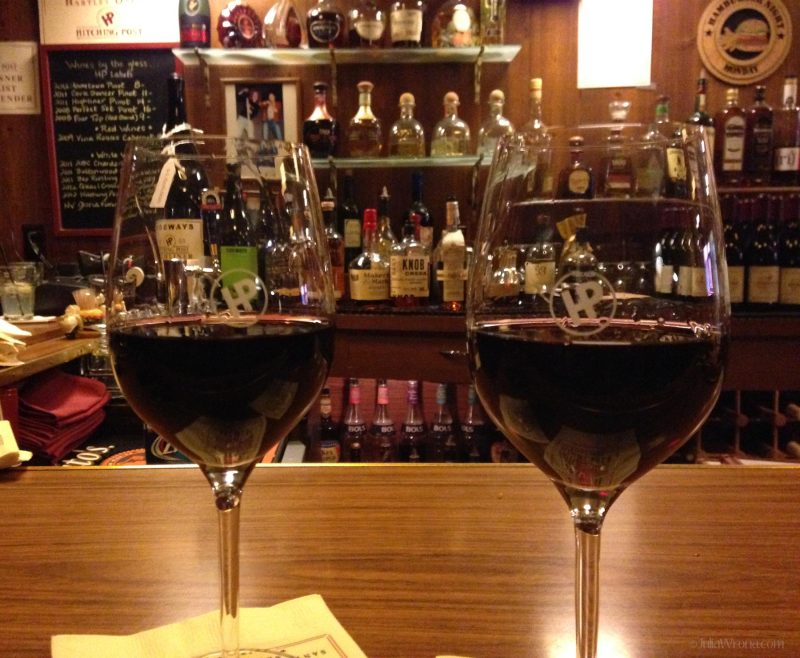 Glasses of Pinot Noir at Hitching Poast