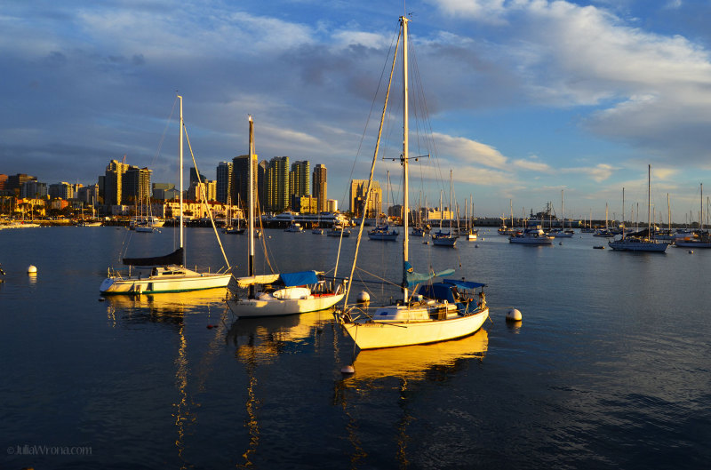 San Diego waterfront at Sunset