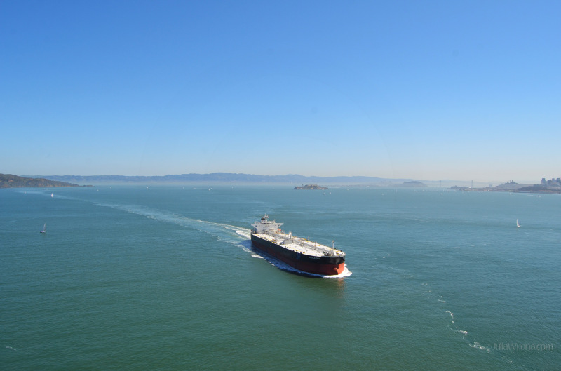 View of boat from the Golden Gate Bridge in San Francisco