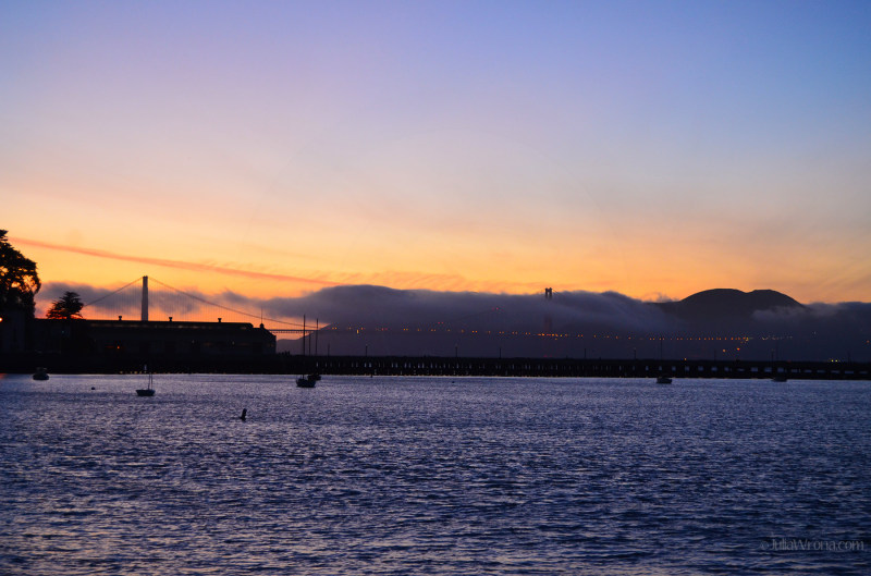 Golden Gate Bridge from Fisherman's Wharf at Sunset