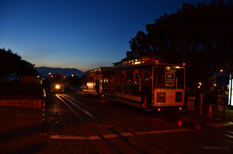 San Francisco Street cars at dusk
