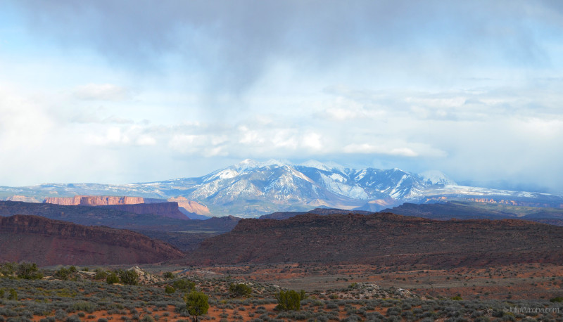 La Sal Mountains from Arches National Park, Utah