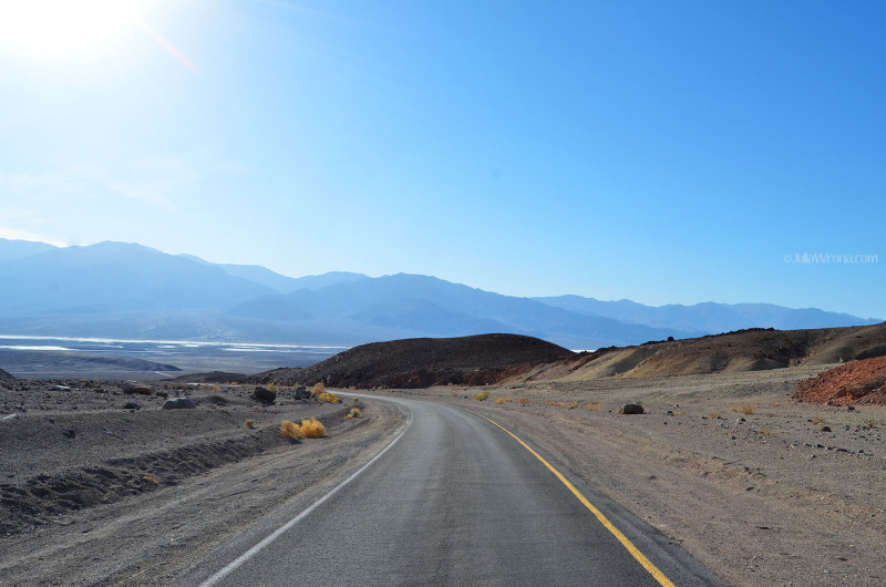 Badwater Basin in distance in Death Valley