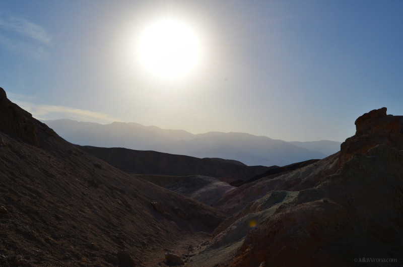 Sun in the sky in Death Valley