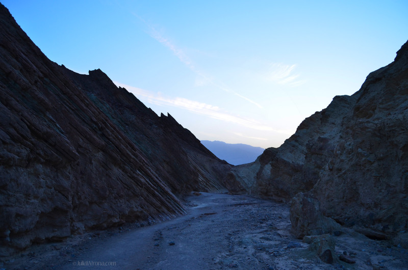 Hiking out of golden canyon at dusk