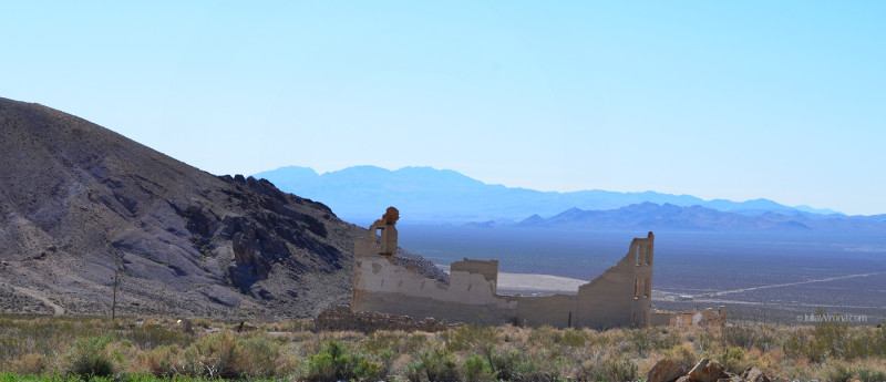Wide shot of mountains and Rhyolite Ghost Town