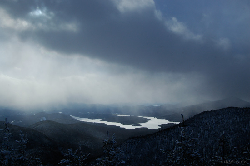 Stormy winter sky over Lake Placid