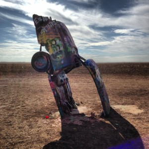 Thursday, near Amarillo. Cadillac Ranch, Route 66