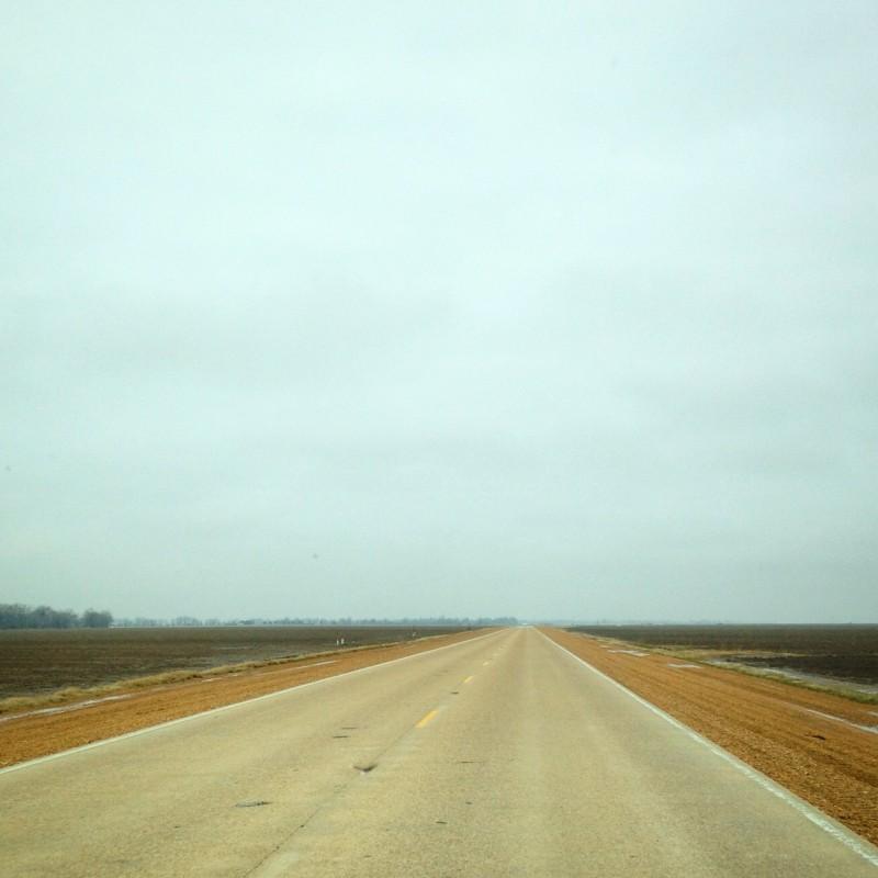 Empty road through the Delta.